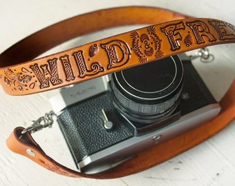 Leather Camera Strap - Wild and Free - by Mesa Dreams - Boho Paisley design - Thoreau quote - Made to Order