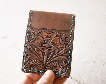 READY to SHIP Handmade Leather Wallet - Western Floral - Turquoise and Flowers - Mesa Dreams - Unisex - Gift - Handmade Card Case Bilfold