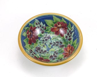 Blue Porcelain Dish - Handmade Shallow Pottery Bowl - Use for Jewelry, Candy, Cat Bowl, or Soap- Red and Blue Floral Design and Yellow Trim