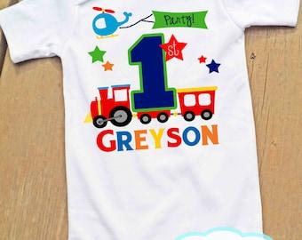 Train First Birthday Bodysuit or Tshirt - Personalized - Boy Birthday - Plane - Transportation