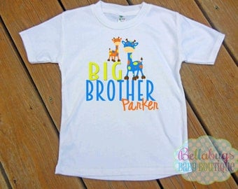 Big Brother Giraffe Bodysuit or Tshirt -  Personalized - New Baby