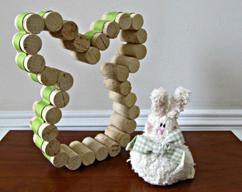 Wine Cork Bunny with Spring Green Ribbon - Easter Decoration, Gift Idea, Home Accent