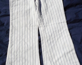 "Mens Womens Unisex Vintage White Blue Striped Button fly Cotton 30 X 29 Pants with 11"" Bell Bottom (20 % DISCOUNT APPLIED)"