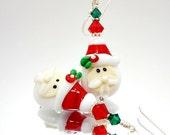 Santa Earrings, Christmas Earrings, Holiday Earrings, Lampwork Earrings, Red andWhite Earrings, Beadwork Earrings, Glass Bead Earrings