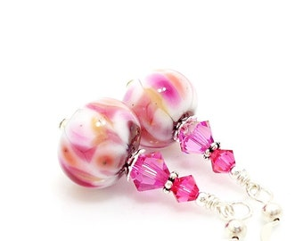 Pink Earrings, Lampwork Earrings, Glass Earrings, Glass Bead Earrings, Beadwork Earrings, Colorful Earrings, Lampwork Jewelry