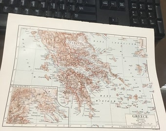 Circa 1910 Ancient Greece map. Great for framing! Free shipping. 8 1/2 x 11 paper image 7x10.