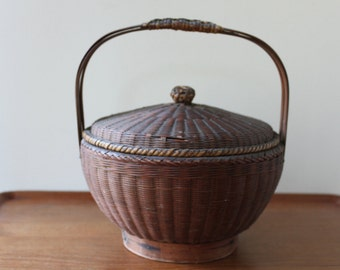 Vintage Hand Woven Basket from 1920's, Handle, Lid, Almost Antique