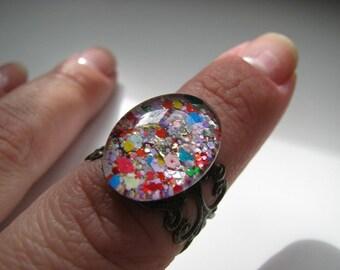 Glitter Bomb Filigree Nail Polish Ring