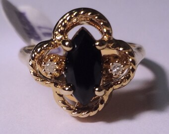 Vintage Lindenwold HGE Black Onyx Faceted Statement Ring size 7