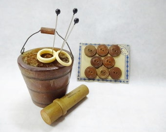 Reserved for Angela - Bucket Pincushion Needle Case Leather Sewing Button Card Glass Head Pins Lot Whimsey Decoration Keepsake