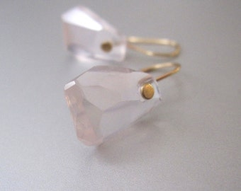 Faceted Rose Quartz Nuggets Solid 14k Gold Earrings