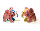 Vintage Napco Quilted Elephant Salt and Pepper Shakers  Cork Stoppers