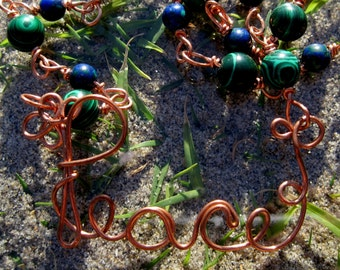 Peace///Copper, Malachite, and Azurite Handmade, Wire Wrap Link Necklace, One of a Kind