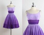 Lilac Ombre . vintage 1950s dress . vintage party dress . 5626