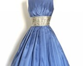 Size UK 12 (US 8-10) - Dusky Blue Silk Twill Prom Dress with Brocade Waistband - Made by Dig For Victory