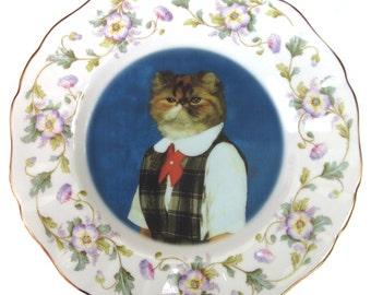 "Heather, School Portrait - Altered Vintage Plate  9"""