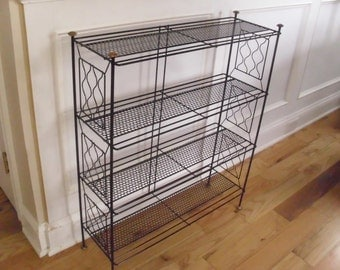 ON SALE  Vintage 1950's/1960's  4 Tiered Black Metal Shelf