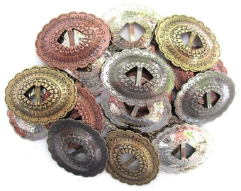 """Conchos Mixed Finishes Western 1 1/4"""" Oval; Scalloped Style Slotted; 20 Pieces"""