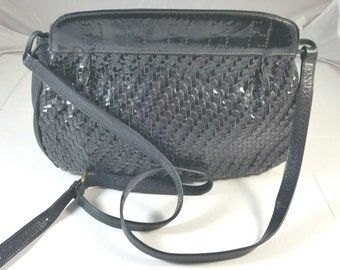 Vintage Black Woven Braided Leather Shoulder Bag Signed Fendi