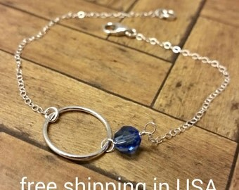sterling silver bracelet circle free shipping crystal birthstone karma