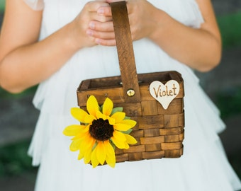 Rustic Flower Girl Basket with Chalkboard or Wood Tag, Personalized Flower Girl Basket, Custom Made to Order
