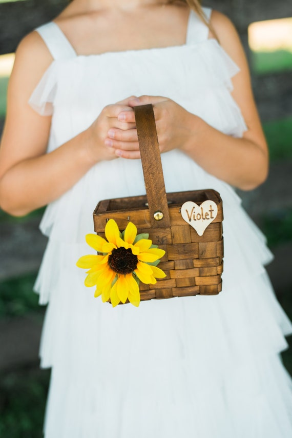 Rustic Flower Girl Basket with Chalkboard or Wood Tag