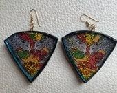 Leopard Rose Triangle Art Deco Earrings