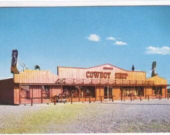 Cowboy Shop Hwy 75 Sherman Denison Texas 1960s Roadside America postcard