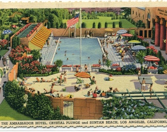 Crystal Plunge Swimming Pool Ambassador Hotel Los Angeles California linen postcard