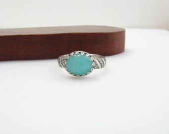 Sterling Silver Amazonite Ring Size 7 Handmade Sterling Silver Aqua Gemstone Ring Ice Princess Ring Sea Green Gem Ring Mermaid Ring