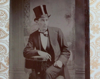 Tintype - Top Hat & Cigar, Young Man About Town