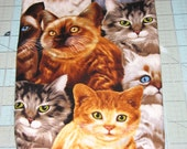 Fat Quarter, 1/2 yd or 1 yd Cat Breed on a black Background Quilt 100%  Cotton Fabric Maine sewing crafting supply