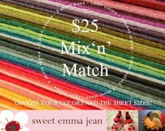 Wool Felt Sheets - Mix and Match sizes and colors - Twenty Five Dollars worth of Wool Blend Felt