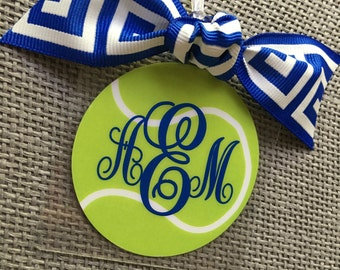 Monogrammed Tennis Bag Tag Tennis Gift Tennis Bag Tag Tennis Mom Gift Tennis Coach Gift Tennis Party Favor Tennis Team Bag Tag Personalized