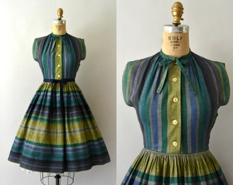 RESERVED LISTING -- 1950s Vintage Dress - 50s Green Striped Cotton Dress