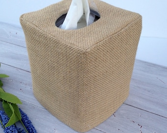 Burlap natural tissue box cover