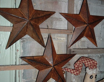 "Three 8""  Rusty Metal Barn Stars Rustic Americana Primitive Crafts Making Wreaths Swags Frame Lot"