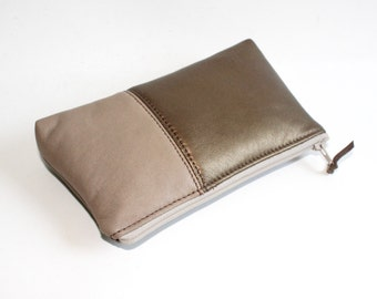 Small Leather Pouch. Leather Bag. Leather Make-Up Bag. Leather Cosmetic Bag in Bronze and Cream