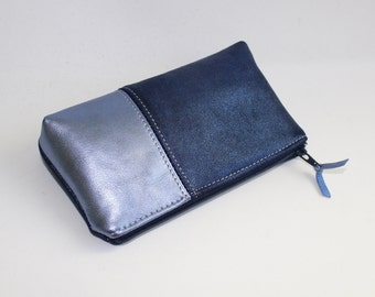 Small Leather Pouch. Leather Bag. Leather Make-Up Bag. Leather Cosmetic Bag in Metallic Navy and Light Blue