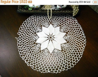 Large Crochet Doily or Centerpiece in White - Hand Crocheted - Damaged 9682