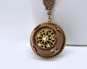 Rhinestone Button Necklace, Vintage Brown Button Pendant Necklace, Filigree Necklace, Antique Brass Button Necklace, Victorian Style Jewelry