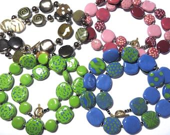 Ceramic Necklaces, Clearance Necklaces, Kazuri Necklaces, Four Clearance Necklaces