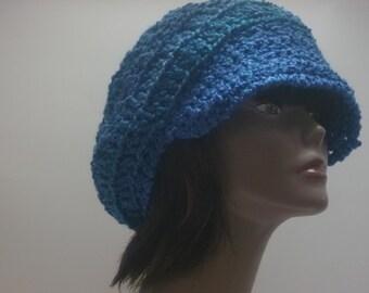 Newsboy Cap Shades of Blue Topaz Chunky Crochet  Gift Under 50 dollars