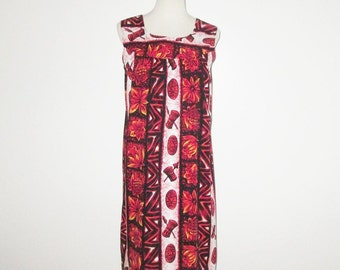 Vintage 1960s Dress / 60s Hawaiian MuuMuu Dress / 60s Red Hawaiian Dress By Ui-Maikau - M