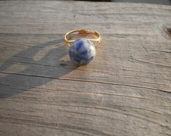Lapis Lazuli Sphere Adjustable Ring