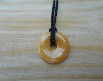 Yellow Agate Donut Necklace