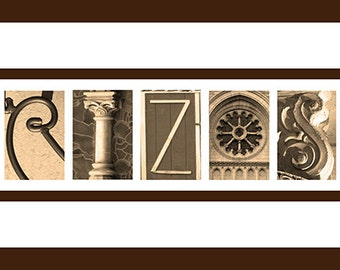 Reserved Sepia Personalized Alphabet Photography Framed Art 7.5 x14.5 by Letter Pictures