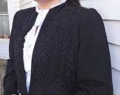 40s Black Soutache Jacket Vintage Dudens Davenport Spokane Womens L M