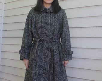 Heavy Winter Coat Vintage Bonders Retro Black Gray White 8 S