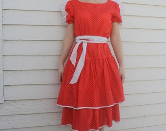 Red Polka Dot Dress Country White Print Rockabilly XS S News from California